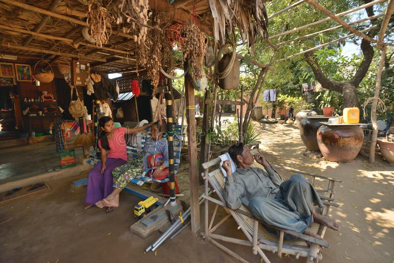 Myanmar Bagan cottage house life style relax royalty free stock image