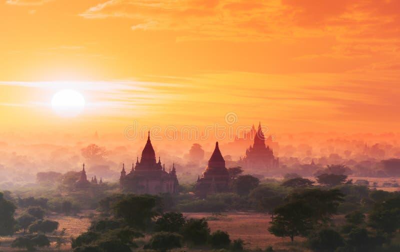 Myanmar Bagan historical site on magical sunset. Burma Asia royalty free stock image