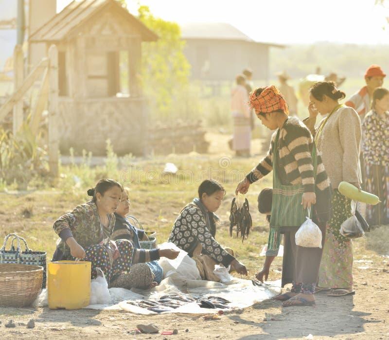 Myanmar Bagan natte markt het verkopen vissen royalty-vrije stock foto's