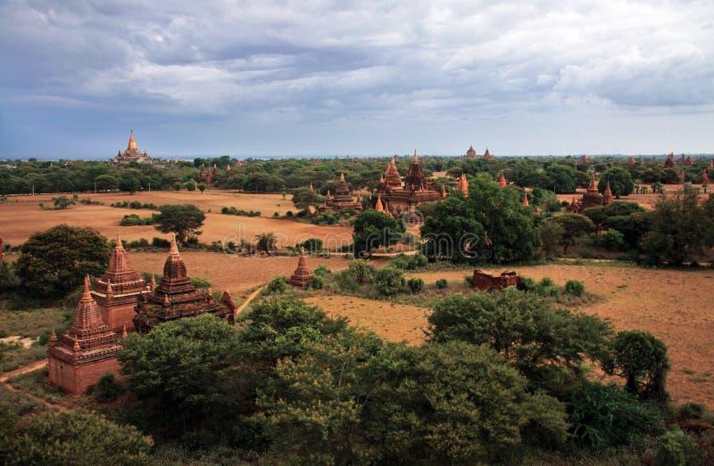 myanmar bagan panorama obraz royalty free