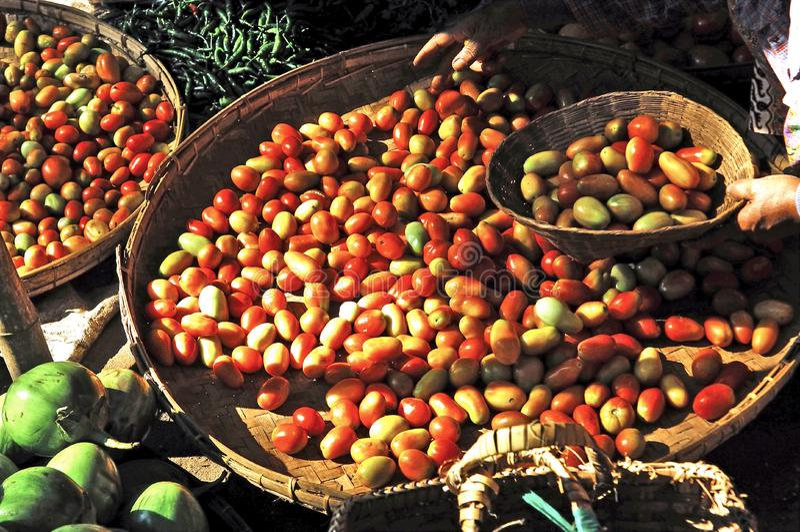 Myanmar, Bagan: vegetables at the market royalty free stock images