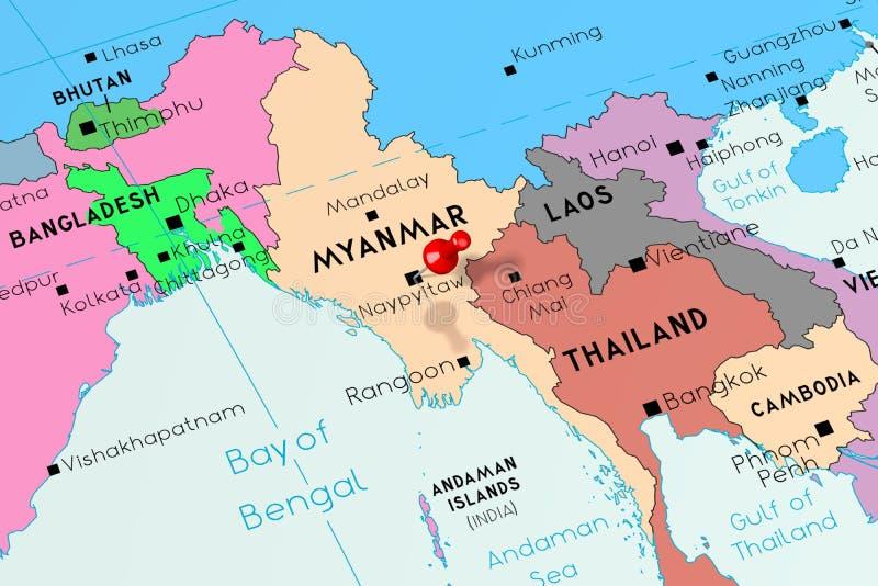 Carte Politique Birmanie.Carte Politique De Myanmar Birmanie Illustration De Vecteur