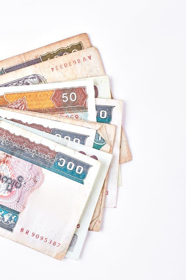 Myanmar burma kyat paper money. stock photos