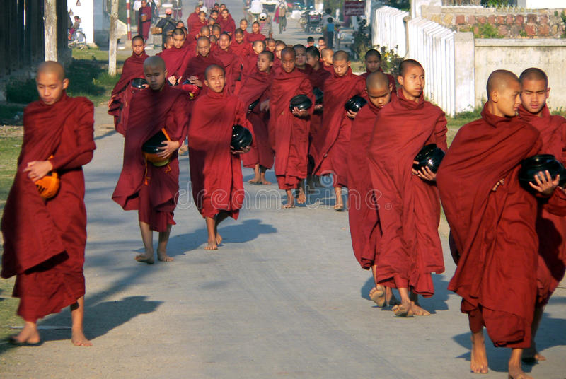Myanmar (Burma) Many Monks Alms Collecting royalty free stock image