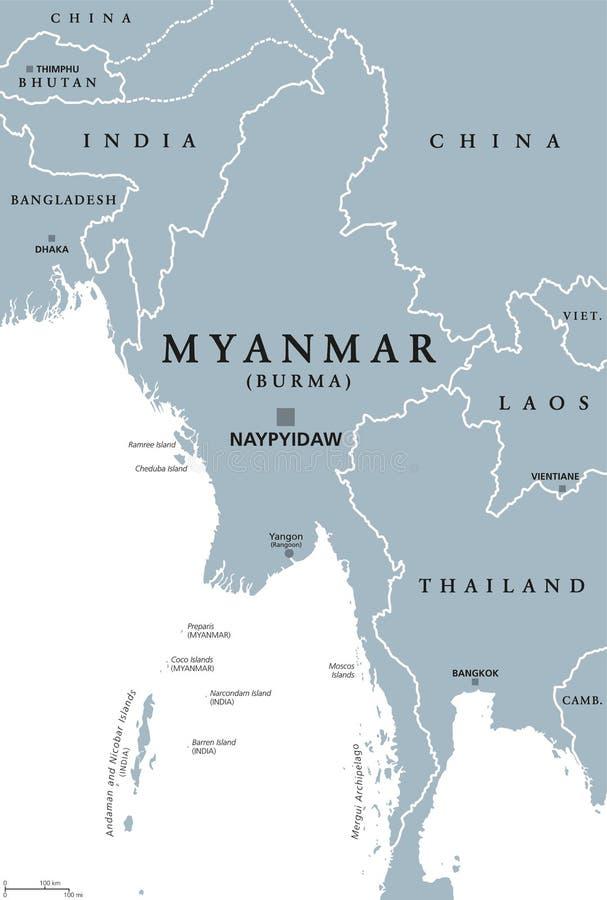 Myanmar Burma Political Map Stock Vector Illustration of india