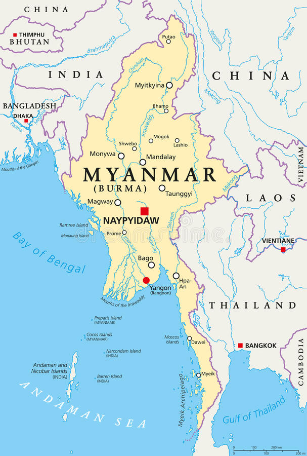 Myanmar Burma Political Map Stock Vector Illustration Of - Burma map download