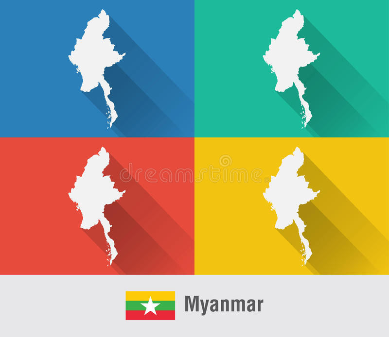 Myanmar Burma World Map In Flat Style With Colors Stock Vector - Burma map download