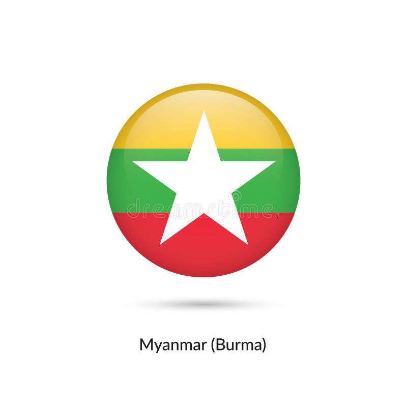 Myanmar - Burmaflagga - rund glansig knapp stock illustrationer
