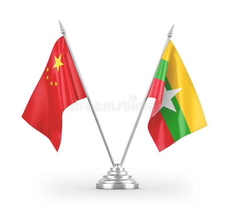 China And Myanmar Two Flags On Flagpoles And Blue Cloudy Sky Stock Photo -  Image of myanmar, celebration: 177250180