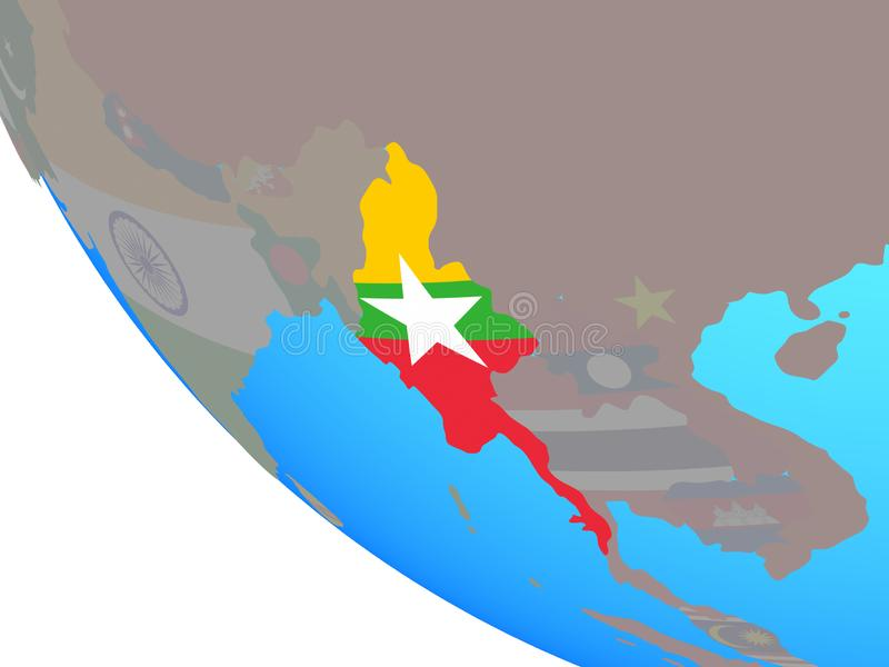 Myanmar con la bandera en el globo ilustración del vector