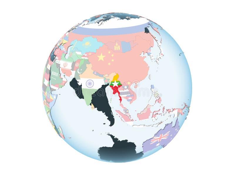 Myanmar con la bandera en el globo aislado stock de ilustración