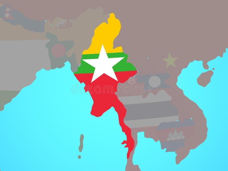 Myanmar con la bandera en mapa ilustración del vector