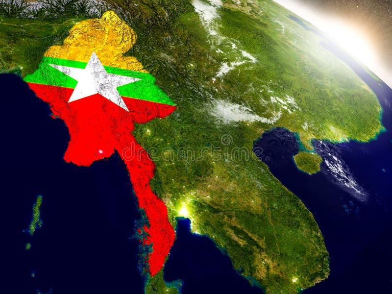 Myanmar con la bandera en sol naciente ilustración del vector