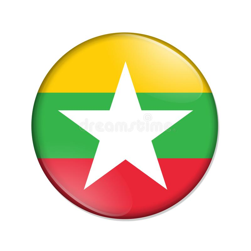Myanmar country flag badge button royalty free stock photos