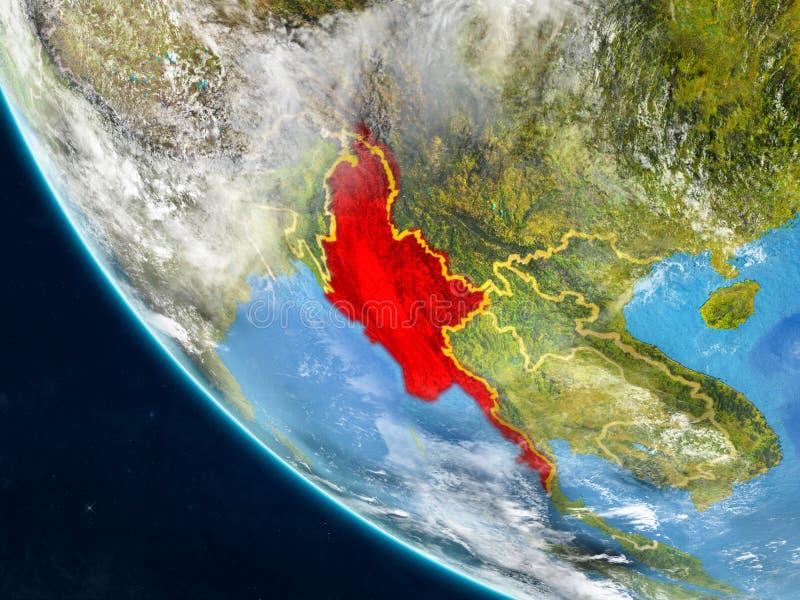 Myanmar del espacio en la tierra ilustración del vector