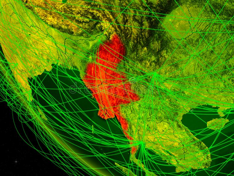Myanmar do espaço com rede ilustração stock