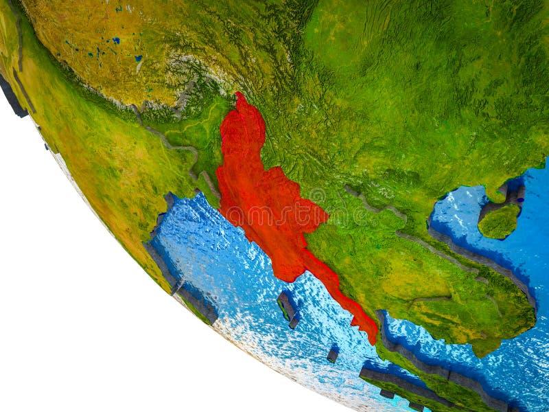 Myanmar en la tierra 3D stock de ilustración
