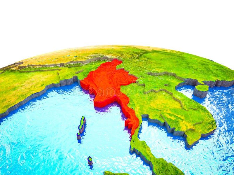Myanmar en la tierra 3D libre illustration