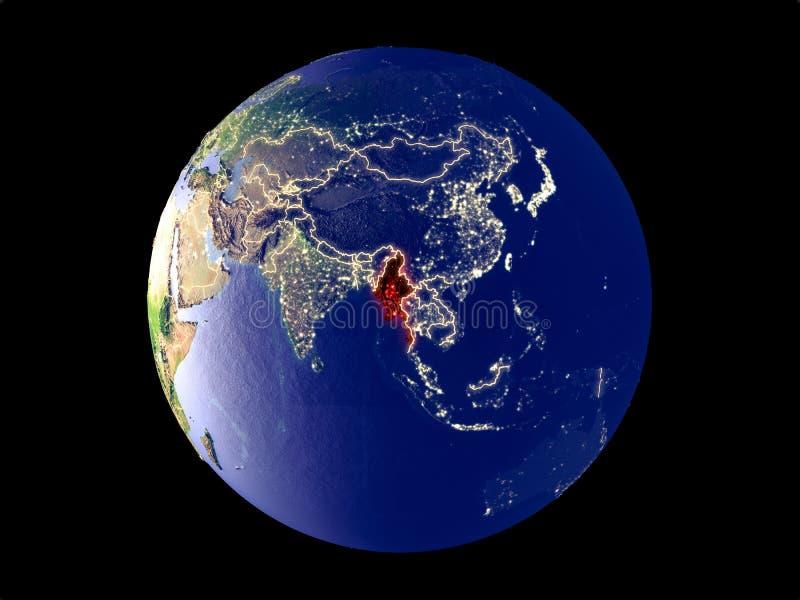 Myanmar en la tierra del espacio stock de ilustración