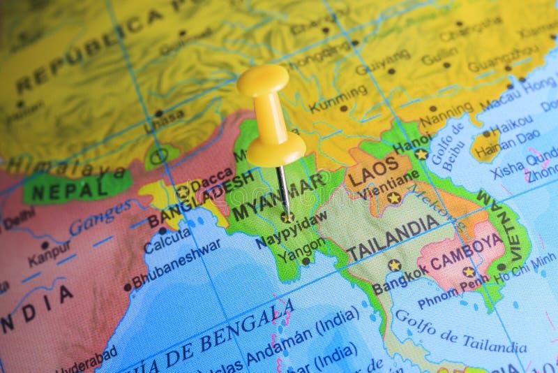 Myanmar fijó en un mapa de Asia foto de archivo libre de regalías