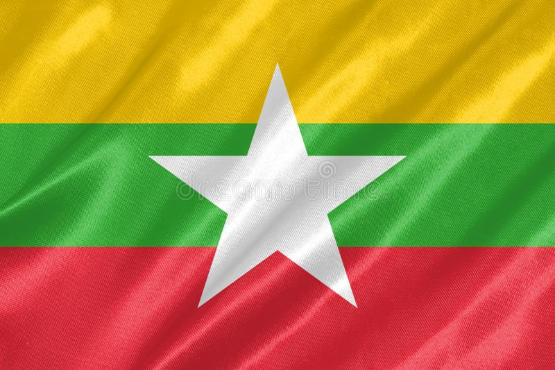 Myanmar Flag. With waving on satin texture royalty free illustration