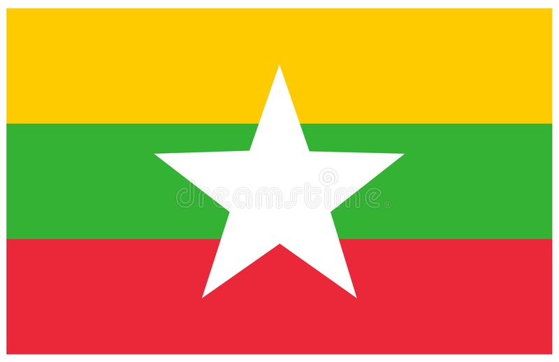 Myanmar flagga - baner, Asien, land royaltyfri illustrationer