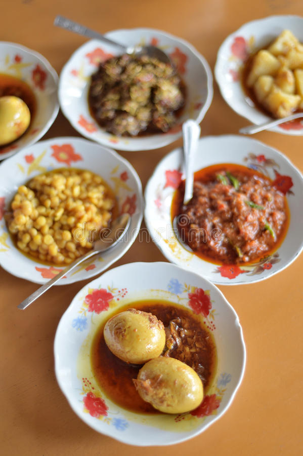 Myanmar Food Set. Selective focus of egg curry, Myanmar food set royalty free stock photo