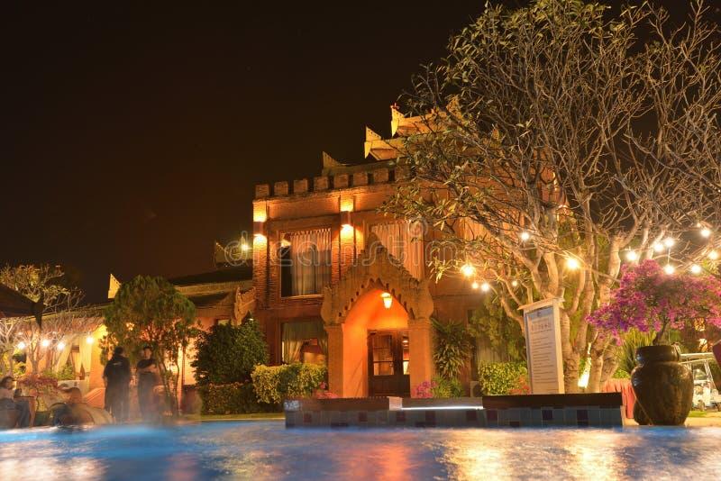 Hotel Swimming pool restaurant. Myanmar Hotel swimming pool side restaurant stock photos