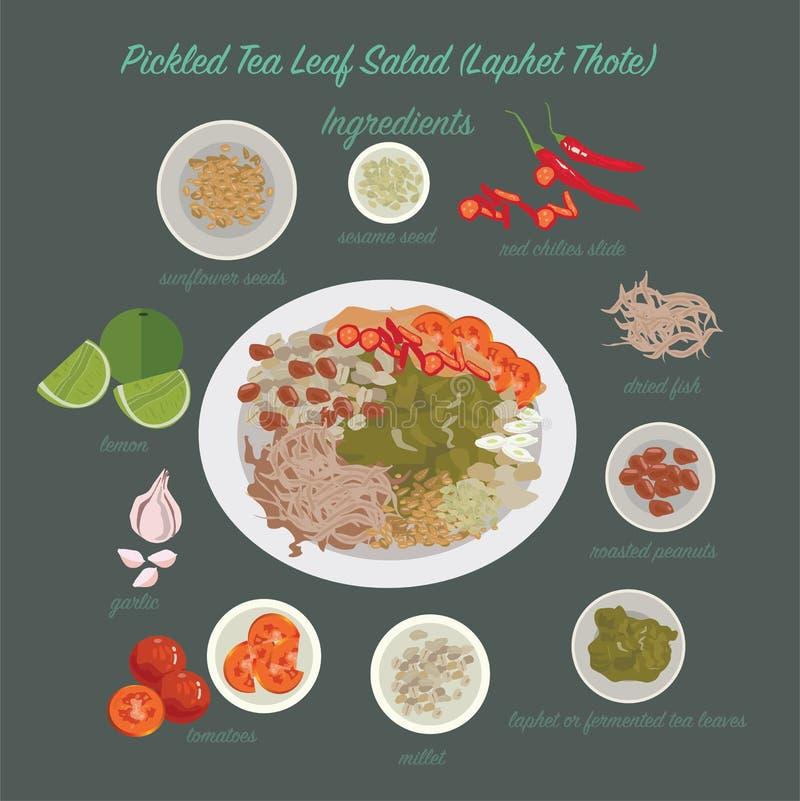 Myanmar jedzenie (Laphet Thote) royalty ilustracja