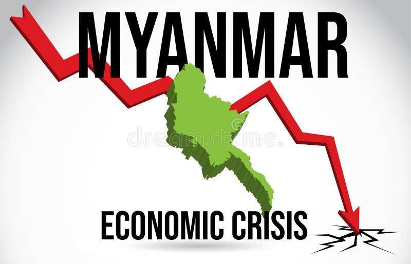 Myanmar Map Financial Crisis Economic Collapse Market Crash Global Meltdown Vector. Illustration royalty free illustration