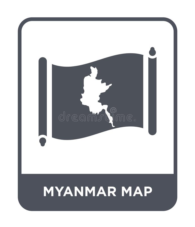 Myanmar map icon in trendy design style. myanmar map icon isolated on white background. myanmar map vector icon simple and modern. Flat symbol for web site royalty free illustration