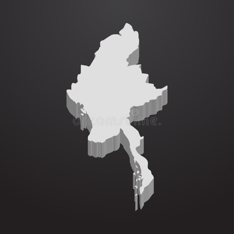 Myanmar mapa w szarość na czarnym tle 3d ilustracji