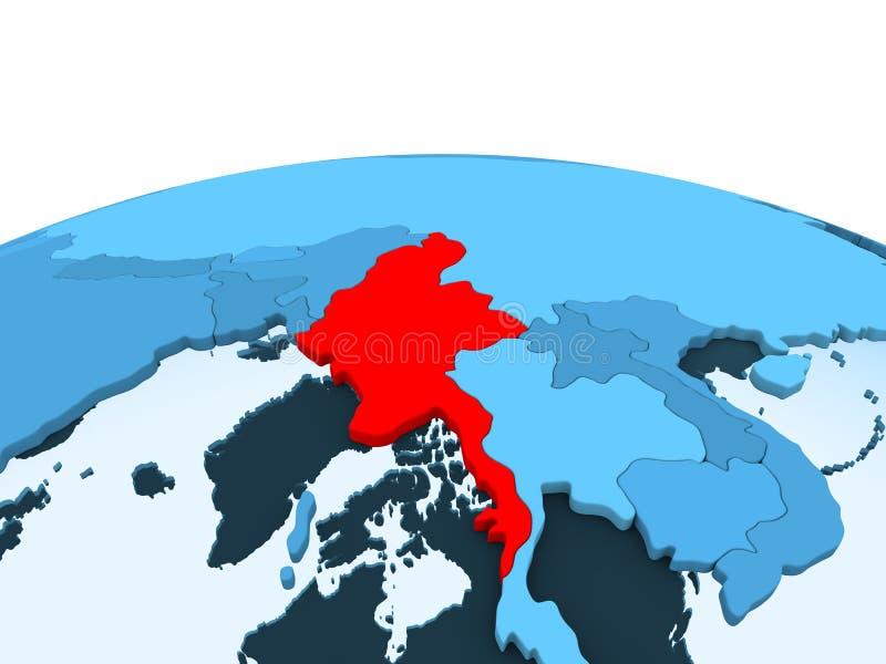 Myanmar na błękitnej politycznej kuli ziemskiej ilustracji