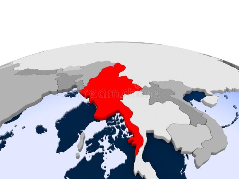 Myanmar na politycznej kuli ziemskiej ilustracji