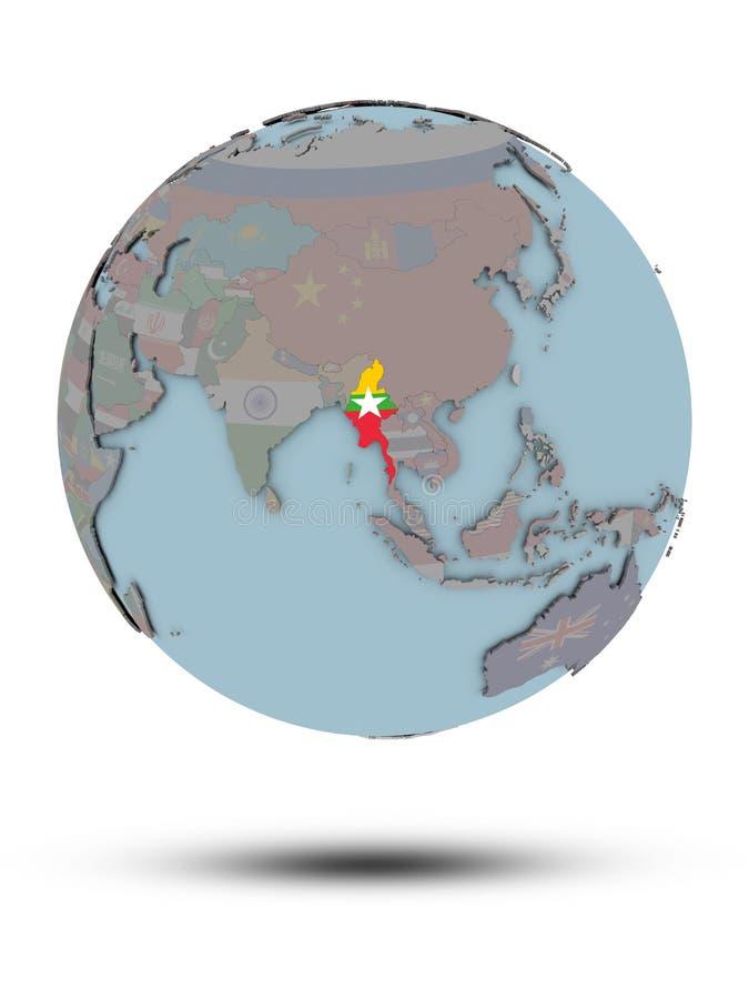 Myanmar na politycznej kuli ziemskiej odizolowywającej royalty ilustracja