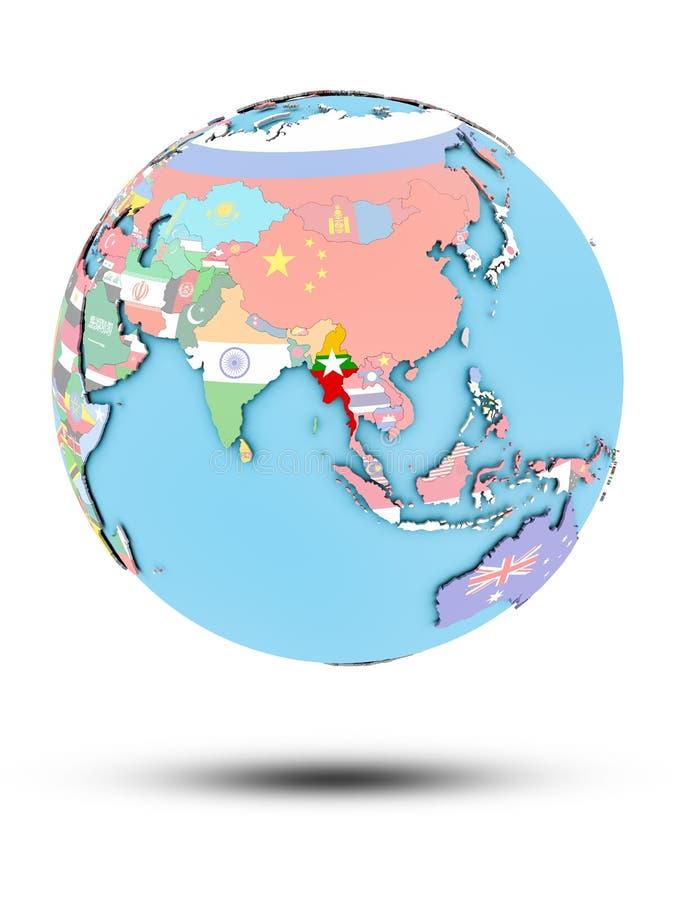 Myanmar na politycznej kuli ziemskiej z flaga ilustracji