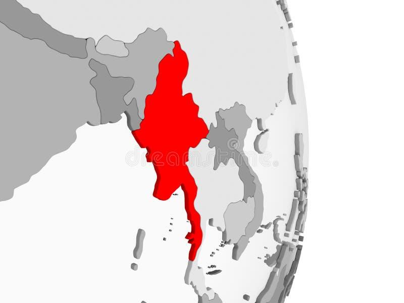 Myanmar na popielatej politycznej kuli ziemskiej royalty ilustracja