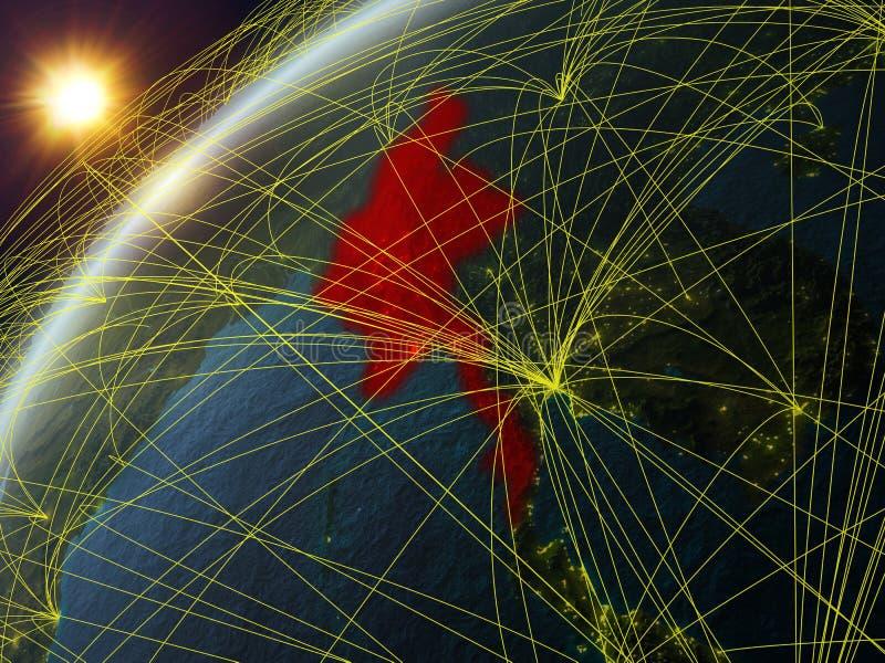 Myanmar na terra com rede ilustração do vetor