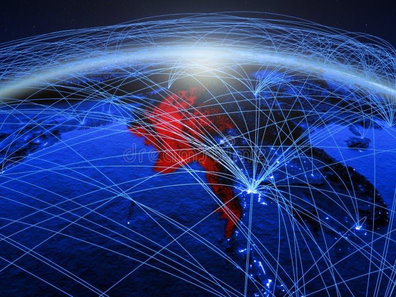 Myanmar na terra digital azul do planeta com a rede internacional que representa uma comunicação, o curso e as conexões 3d ilustração royalty free