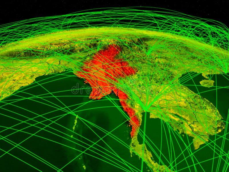 Myanmar na terra digital do planeta com a rede internacional que representa uma comunicação, o curso e as conexões ilustração 3D ilustração royalty free