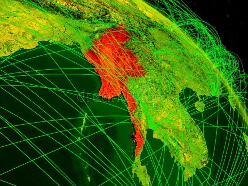 Myanmar no globo digital ilustração do vetor