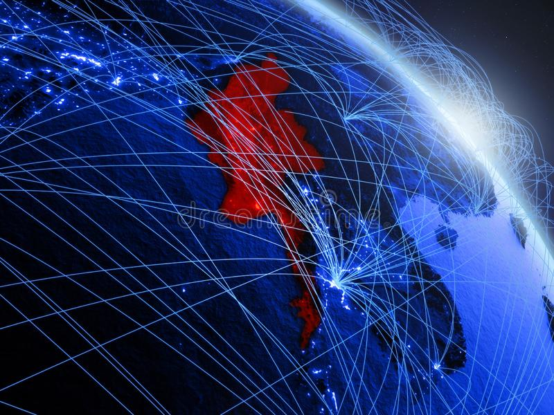 Myanmar no globo digital azul azul ilustração stock