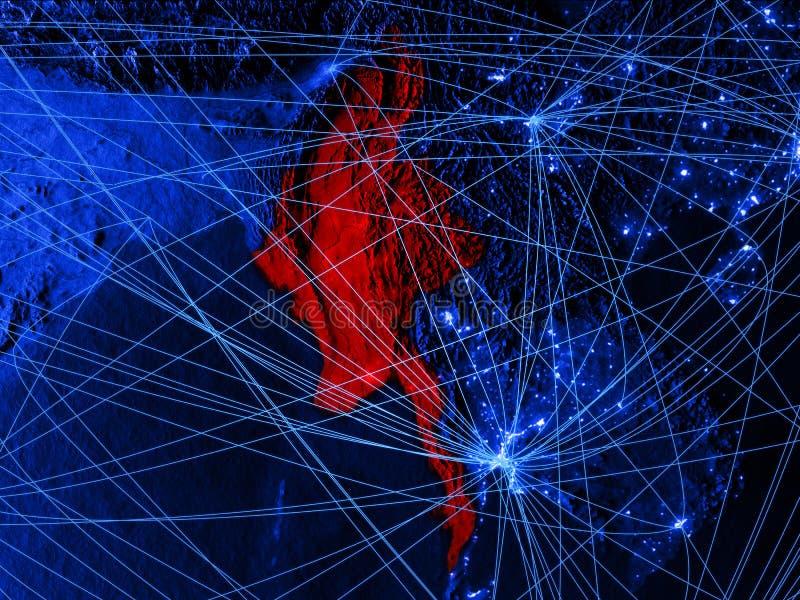 Myanmar no mapa digital azul com redes Conceito do curso internacional, da comunicação e da tecnologia ilustração 3D ilustração royalty free