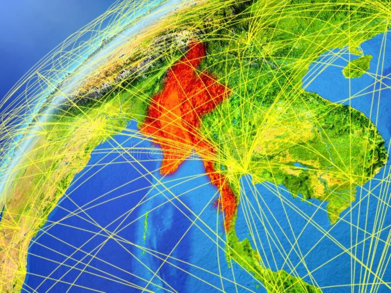 Myanmar no modelo da terra do planeta com redes internacionais Conceito de uma comunicação digital e da tecnologia ilustração 3D ilustração do vetor