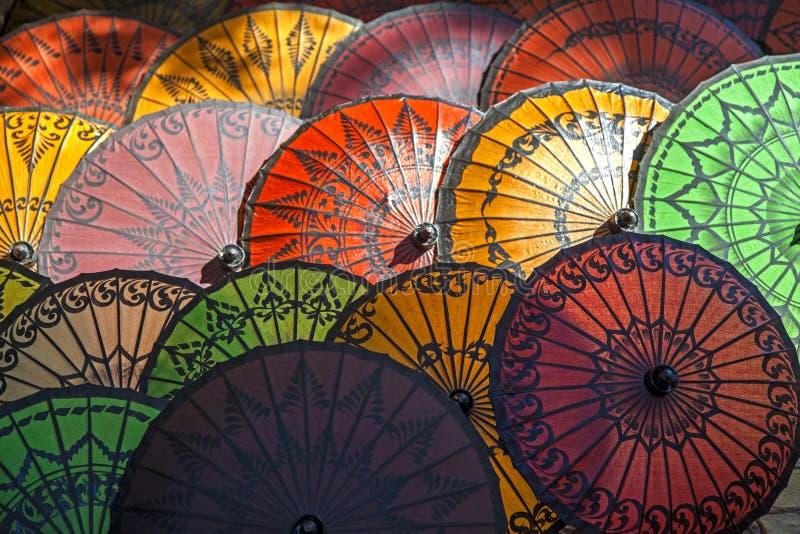Myanmar, ombrelli tipici immagini stock libere da diritti