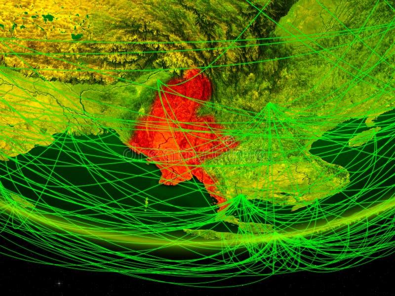 Myanmar op groen model van aarde met netwerk die digitaal tijdperk, reis en mededeling vertegenwoordigen 3D Illustratie elementen stock foto