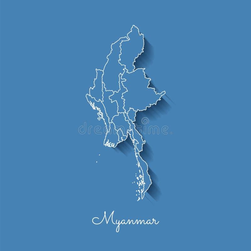 Myanmar-Regionskarte: Blau mit weißem Entwurf und vektor abbildung