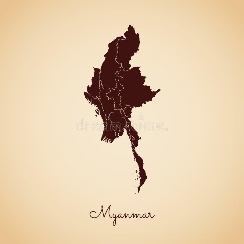 Myanmar-Regionskarte: brauner Entwurf des Retrostils an vektor abbildung