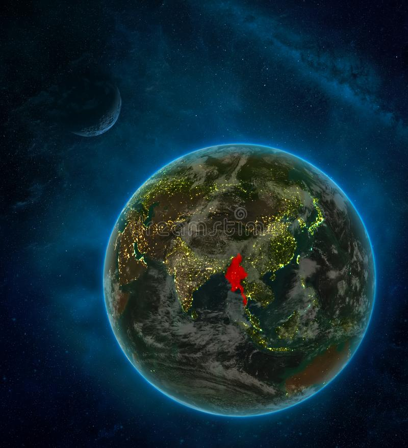 Myanmar from space on Earth at night surrounded by space with Moon and Milky Way. Detailed planet with city lights and clouds. 3D. Illustration. Elements of stock illustration