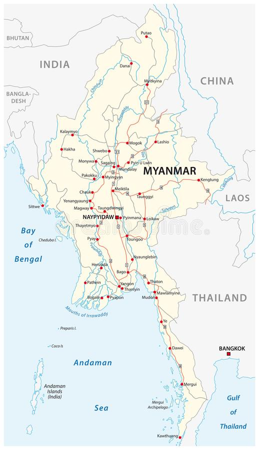 Myanmar vector road map with important cities stock vector download myanmar vector road map with important cities stock vector illustration of black mekong gumiabroncs Choice Image